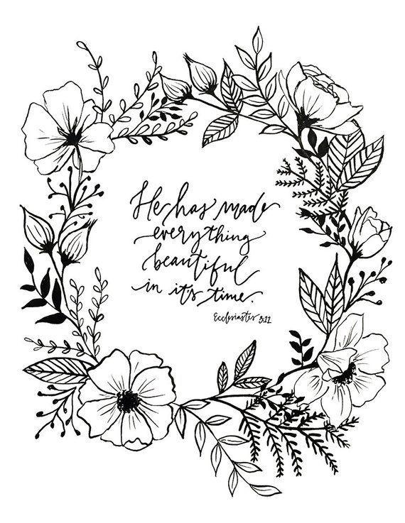 Photo of Ecclesiastes 3:11 Hand Lettered Floral Art Print – #Art #Ecclesiastes #Floral #H…