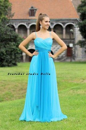 6030a8e33d6 Plesové splývavé šaty - tyrkysové šaty - dlouhé šaty www.svatebninella.cz