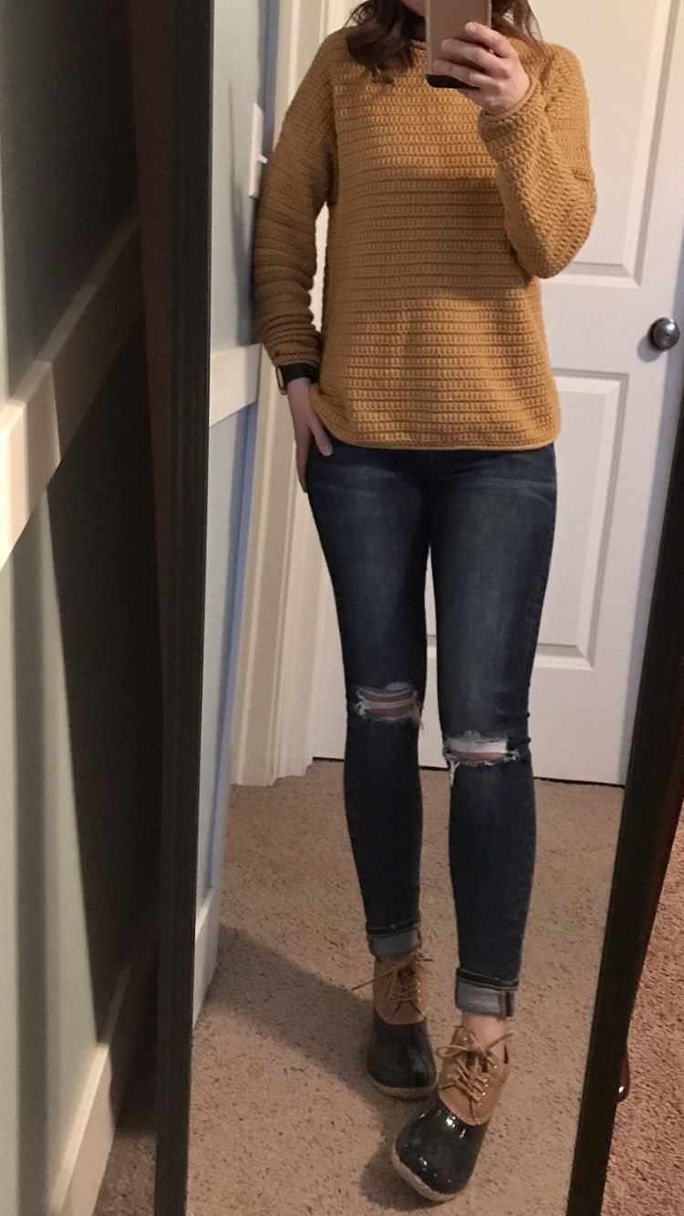 44bcaee54385 Mustard yellow sweater, ripped skinny jeans, duck boots •Sperry •rain boots  •beige & navy boots