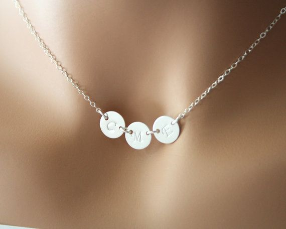 initials necklace three discs in sterling silver valentine gift
