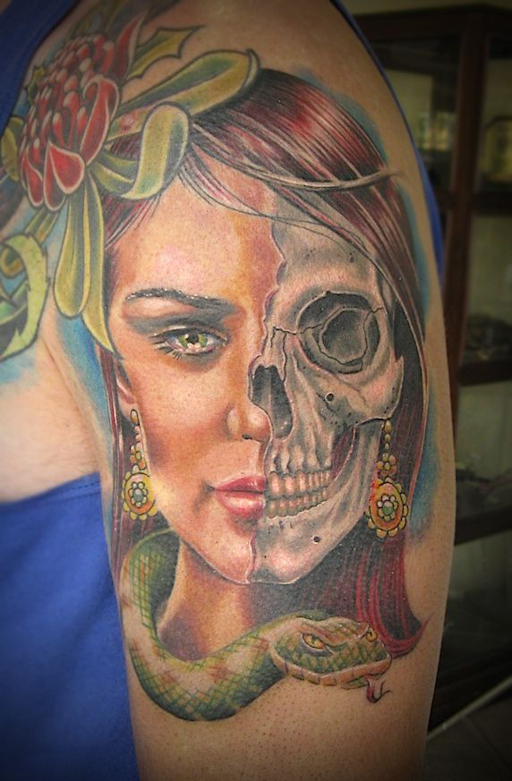 5fb0617cce448 Image result for Skull woman tattoo profile | Skulls and tattoos ...