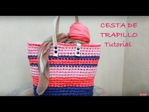 Cesta de colores a Trapillo ¡¡ TUTORIAL DIY !! Paso a Paso - YouTube