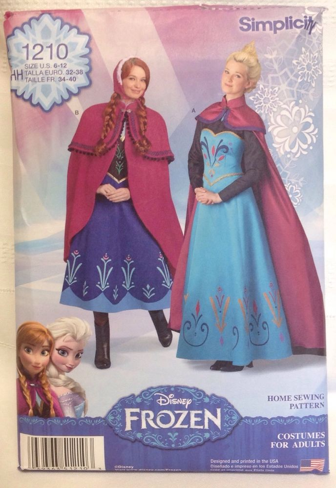 Simplicity Disney Costume Frozen Princess Sewing Pattern Adult Size Stunning Disney Sewing Patterns
