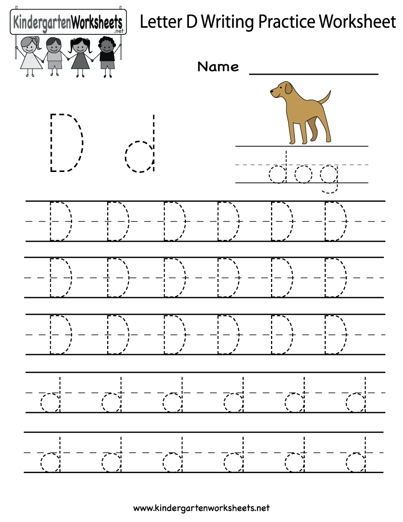 kindergarten letter d writing practice worksheet printable alphabet activities writing. Black Bedroom Furniture Sets. Home Design Ideas