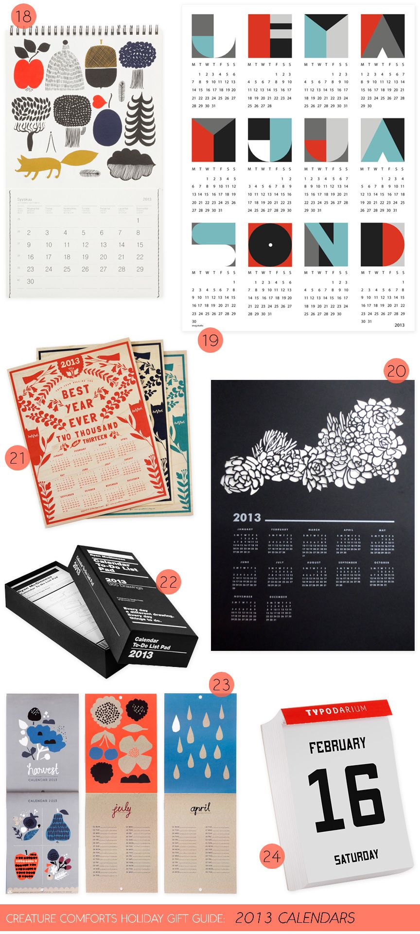 Creature Comforts Holiday Gift Guide: 2013Calendars - Home - Creature Comforts - daily inspiration, style, diy projects + freebies