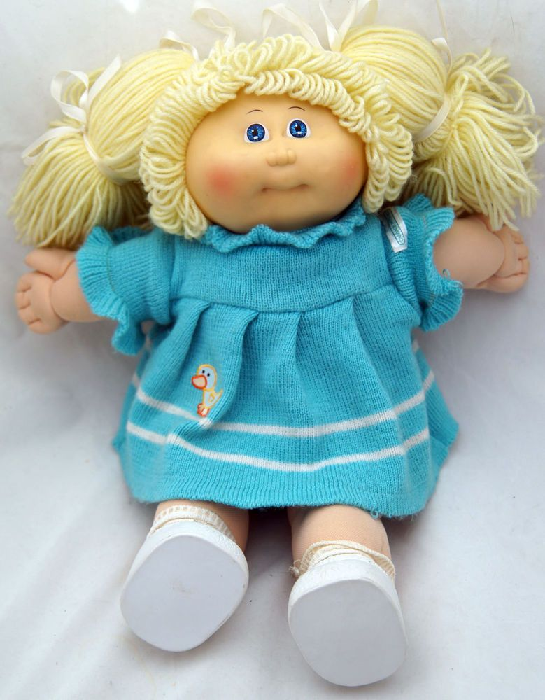 Cabbage Patch Doll Vintage Coleco 1985 Blonde Hair Blue Eyes Knit Duck Dress Cabbagepatchkids Dolls Cabbage Patch Dolls Cabbage Patch Babies Knit Duck