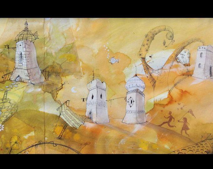 Tableau Maison Blanches Et Panorama Orange Aquarelle Et Encre