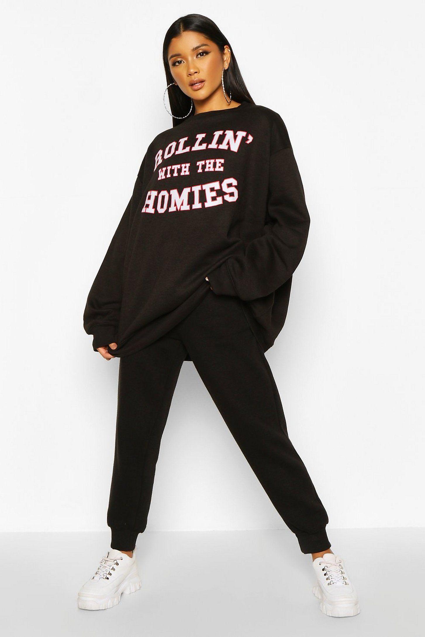 Rolling With The Homies Slogan Oversized Sweatshirt | boohoo