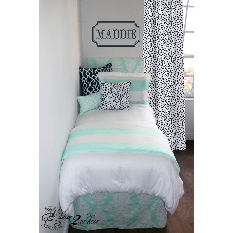 Mint U0026 Navy Wide Stripe Custom Designer Bedding Set. Designer Headboard,  Custom Pillows, · College Loft BedsCollege Dorm ...