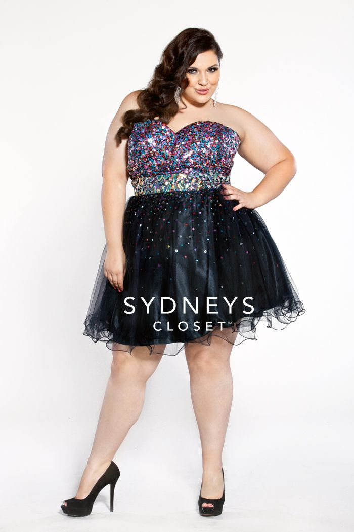 5dbec1f2bf5b Short tulle and satin cocktail dress with heavily sequined, strapless  bodice | SC8073 | Sydney's Closet