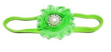 Lime Green Rhinestone Pearl Shabby Chic Flower Skinny Headband by gingasgalleria for $4.00