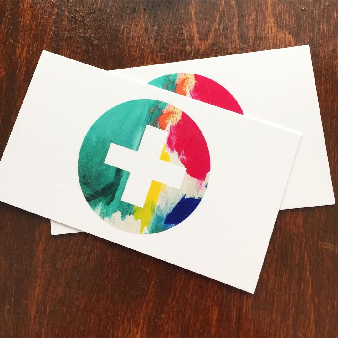 Custom business card design with luscious layers of paint and spot UV gloss! Yum!