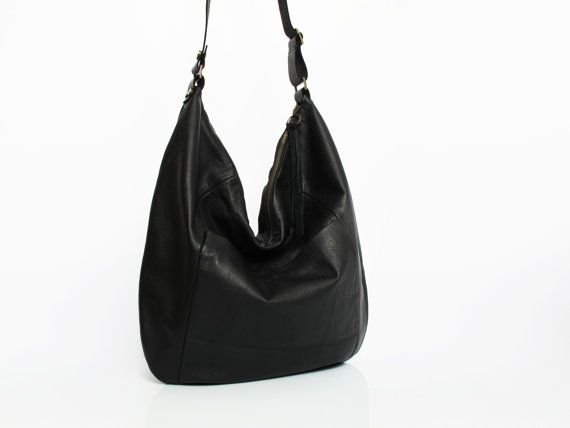 Black leather hobo bag - leather purse - women bags SALE black ...