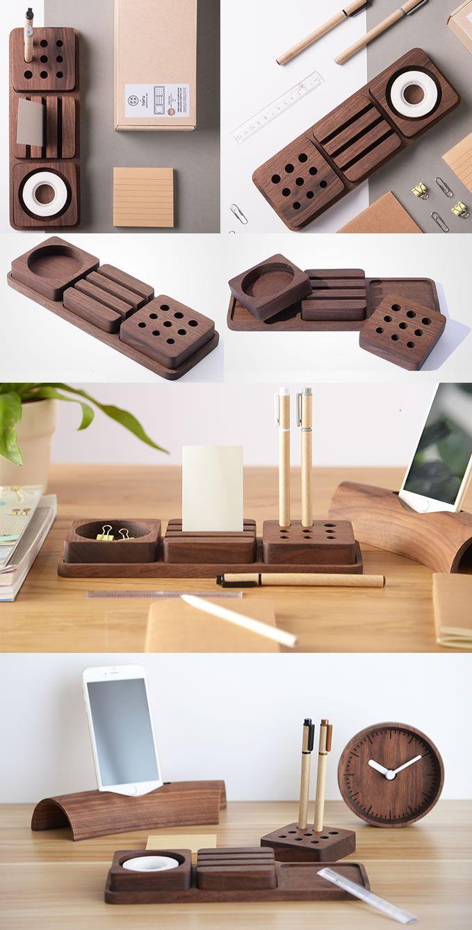 Solid Wood Desk Tidy Modular Organizers Set Smart Phone Dock Stand Office Stationery Organizer Desk Organization Diy Stationery Organization Diy Desk