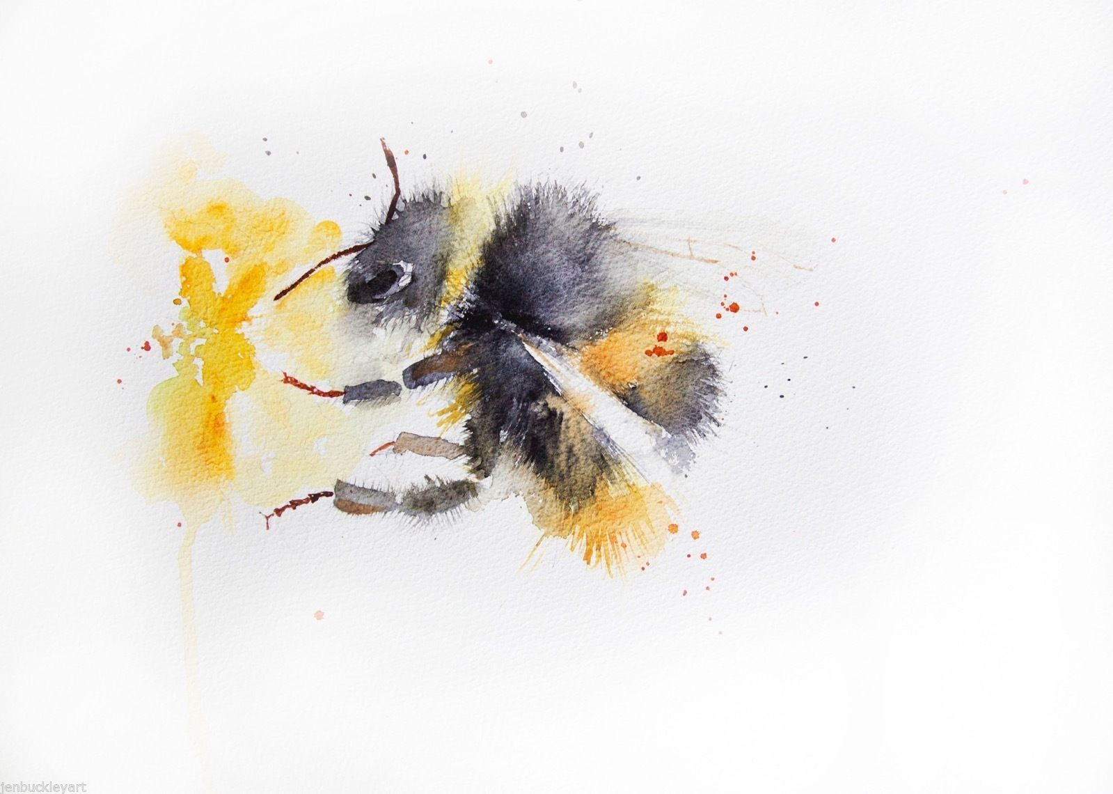 Artcard Bees and Foxgloves Watercolour Print Original art Frammed Picture