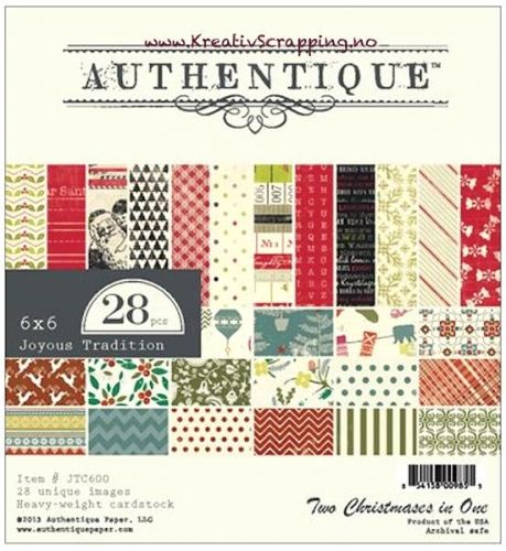 JULEPAPIR FRA AUTHENTIQUE - PAPER PAD 6x6 - JTC600 - JOYOUS TRADITION - KUN 2 STK  http://www.kreativscrapping.no/products/authentique-paper-pad-6x6-jtc600-joyous-tradition