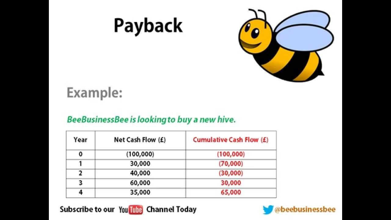 Bee Business Bee Investment Appraisal Payback Tutorial   Unit