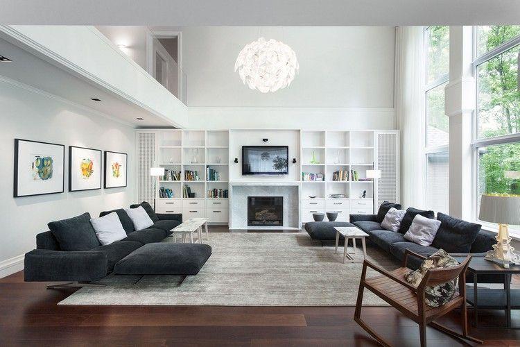 Idées aménagement salon – où disposer l'écran TV  Idée aménagement salon, Ec -> Amenagement Long Mur Salon Tv