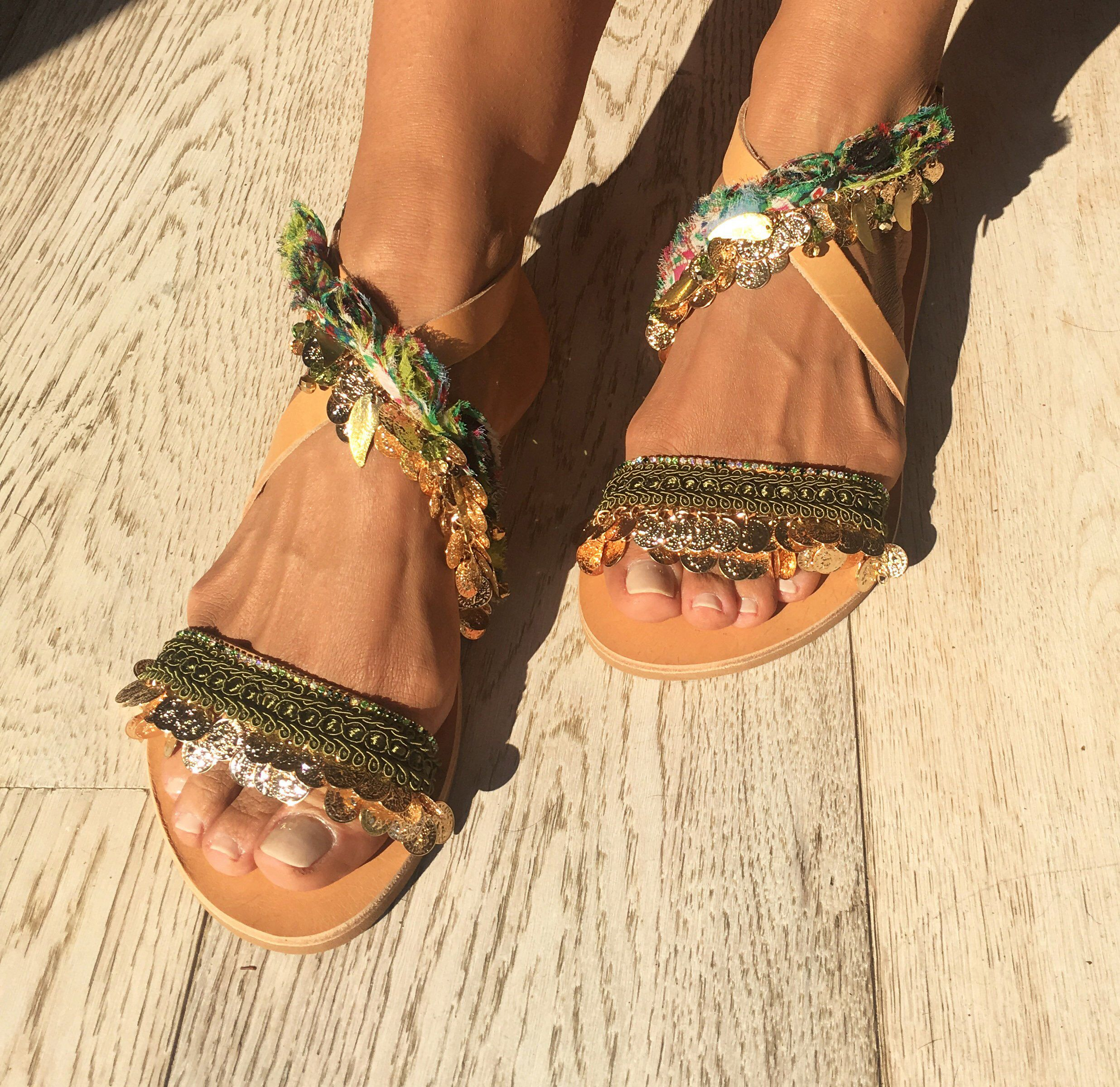 """63b8daef3c ... my #etsy shop: Leather flats sandals, Handmade to order sandals, Green  sandals, Greek sandals, Decorated """"Bette""""sandals, Women's shoes, Free  shipping."""
