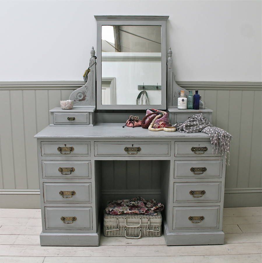 Vintage dressing table - Elegant Vintage Knee Hole Dressing Chest A Solid Yet Attractive Old Dressing Table With