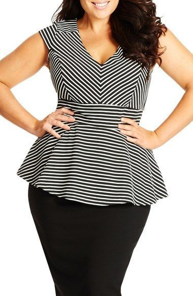 488ec40ca Plus Size Stripe V-Neck Peplum Top