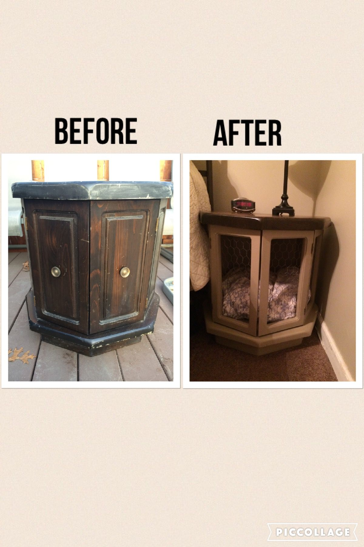 Old Side Table Recycled Into A Unique Dog Crate Diy Dog Crate