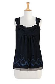 Draped neck tulle tank eShakti, hemmed into square neckline - blue skirt, burgandy sweater coat