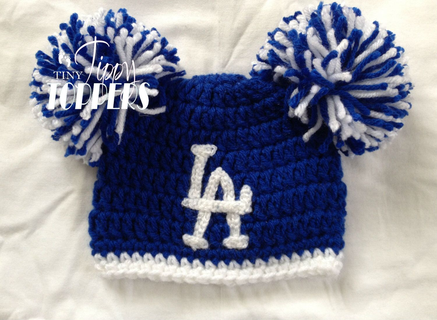 Crocheted LOS ANGELES DODGERS la Hat Cap beanie baby boy girl ears or pom  poms by b539acbb87e7