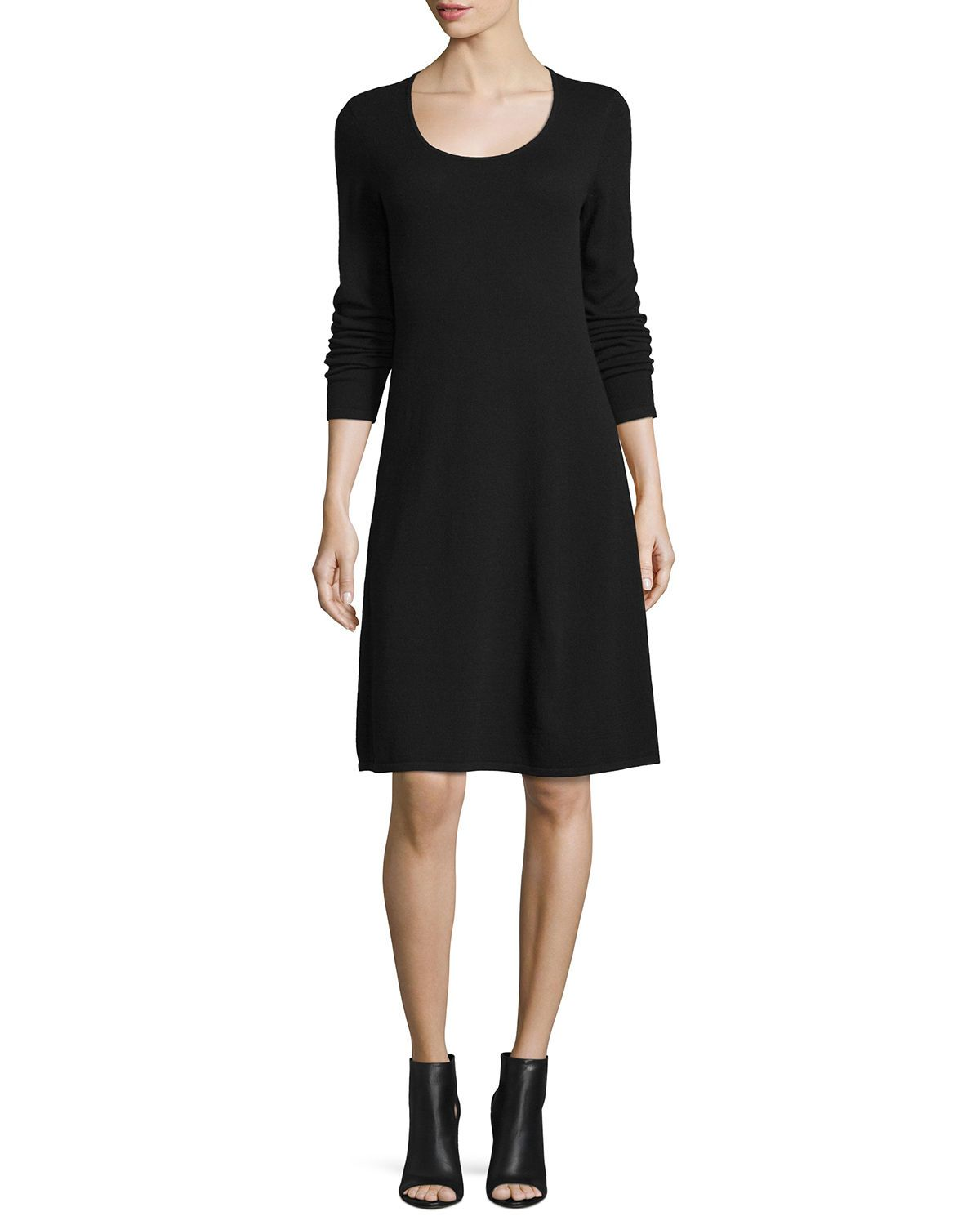 Magaschoni Cashmere Long Sleeve Fit Flare Dress Magaschoni Cloth Fit Flare Dress Cashmere Sweater Women Clothes [ 1500 x 1200 Pixel ]