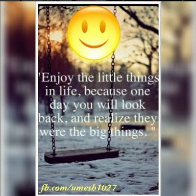 "Make Life Beautiful:  ""Enjoy the little things in life because one day ..."