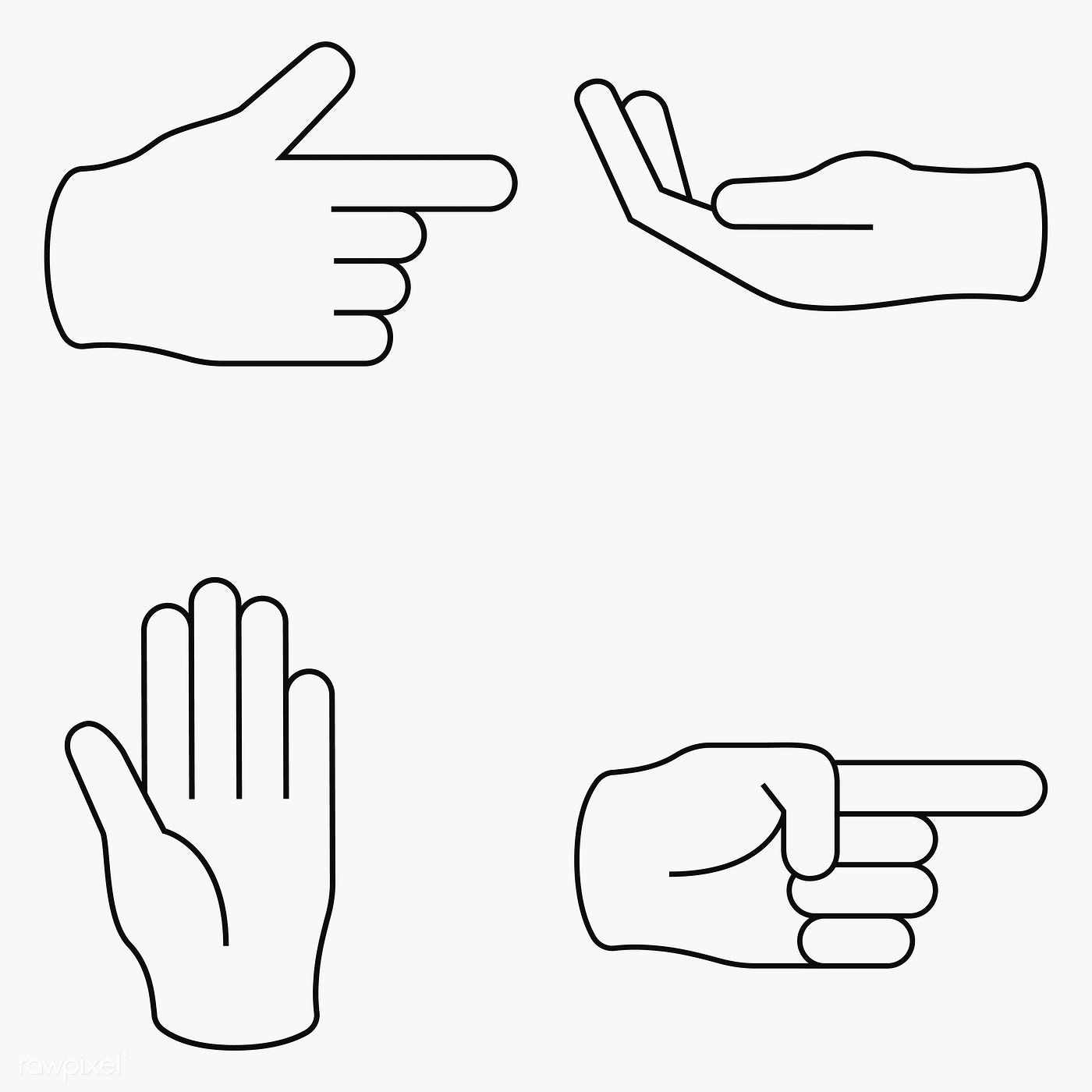 Hand signals set transparent png free image by rawpixel