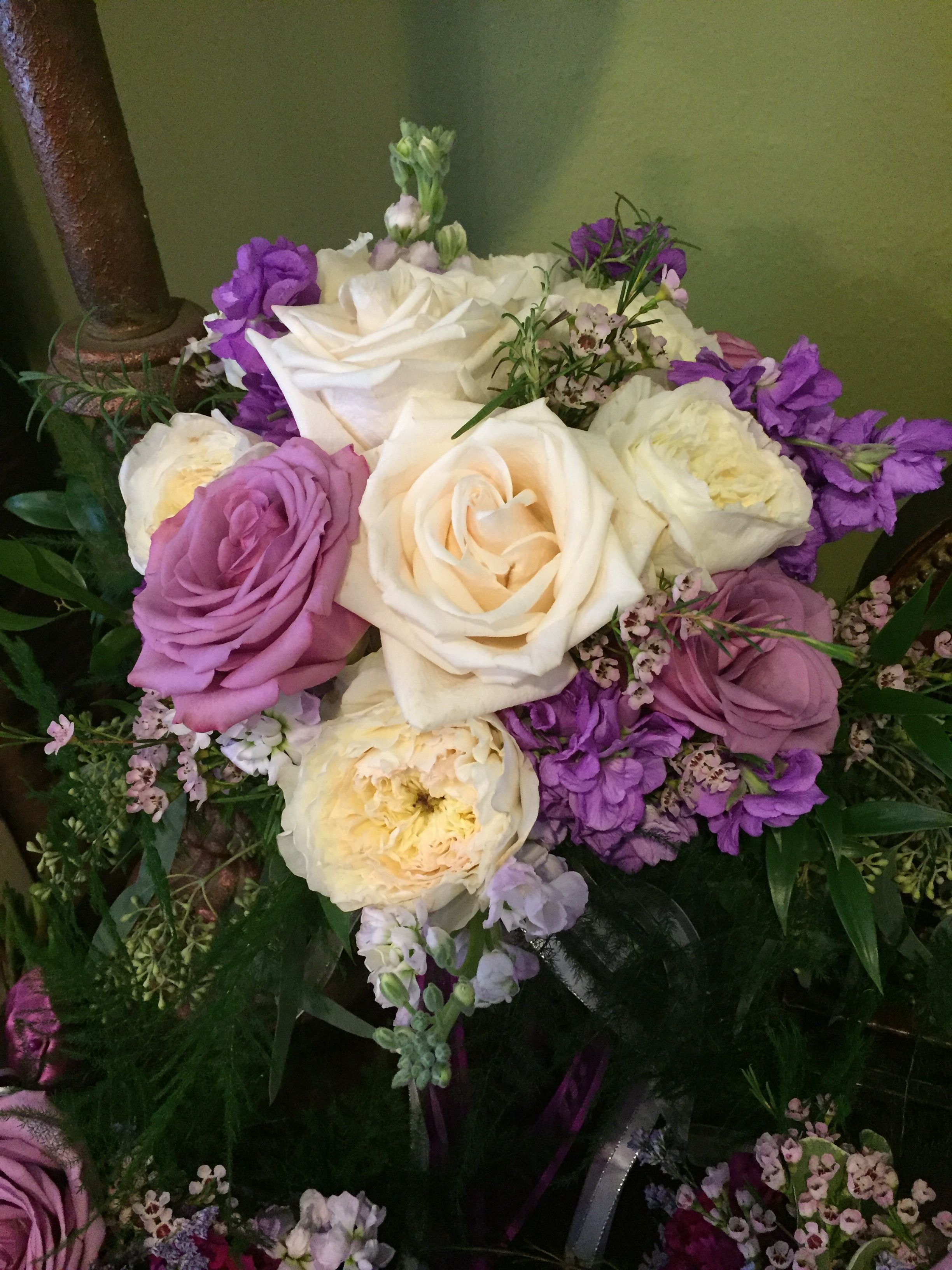 Lavender roses white roses sweet pea and wax flower bouquet by lavender roses white roses sweet pea and wax flower bouquet by alta fleura izmirmasajfo
