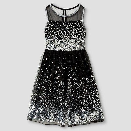 451fc06e9f58 Girls' Lots of Love Sequin Skater Dress -Black : Target   Holiday ...