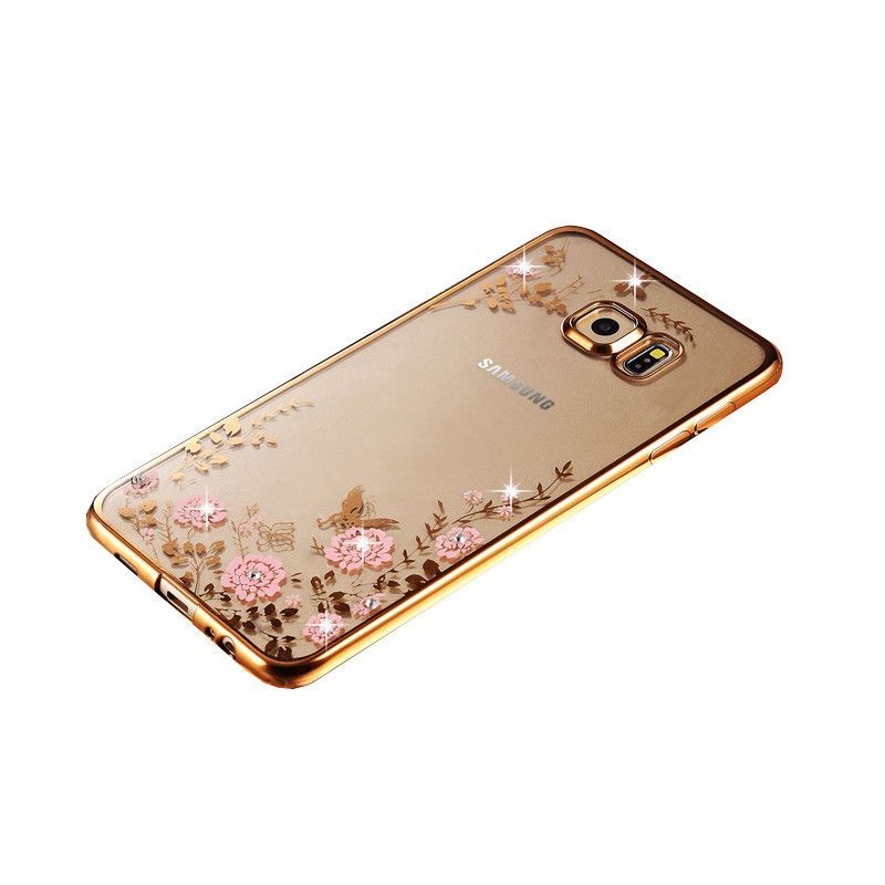 samsung galaxy s6 gold case. new luxury secret garden flowers rhinestone cell phone cases for samsung galaxy s6 s7 edge gold case