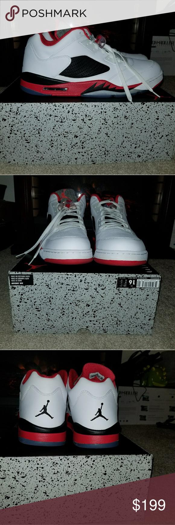 outlet store 7faad 1a4d2 Nike Air Jordan 5 V Retro low White Fire Red 81917 Nike Air Jordan 5 V  Retro low White Fire Red 819171-101 New Size 16 Air Jordan Shoes Sneakers