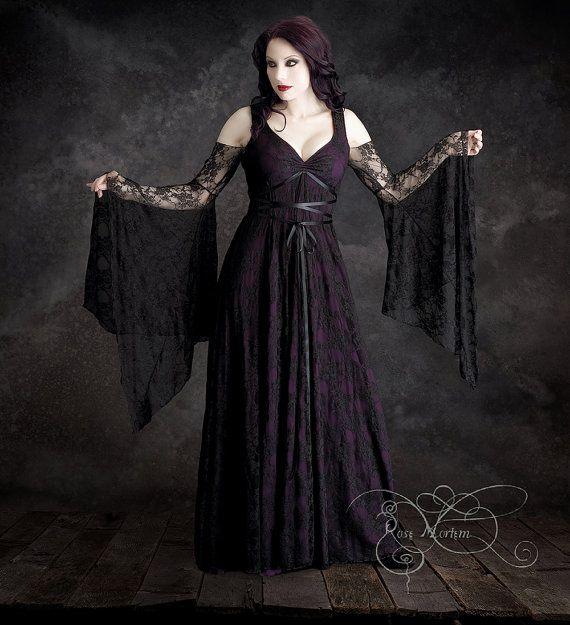 Discount Fantasy Fairy Medieval Gothic Wedding Dresses: Willow Garden Gothic Wedding Dress Black Lace Romantic