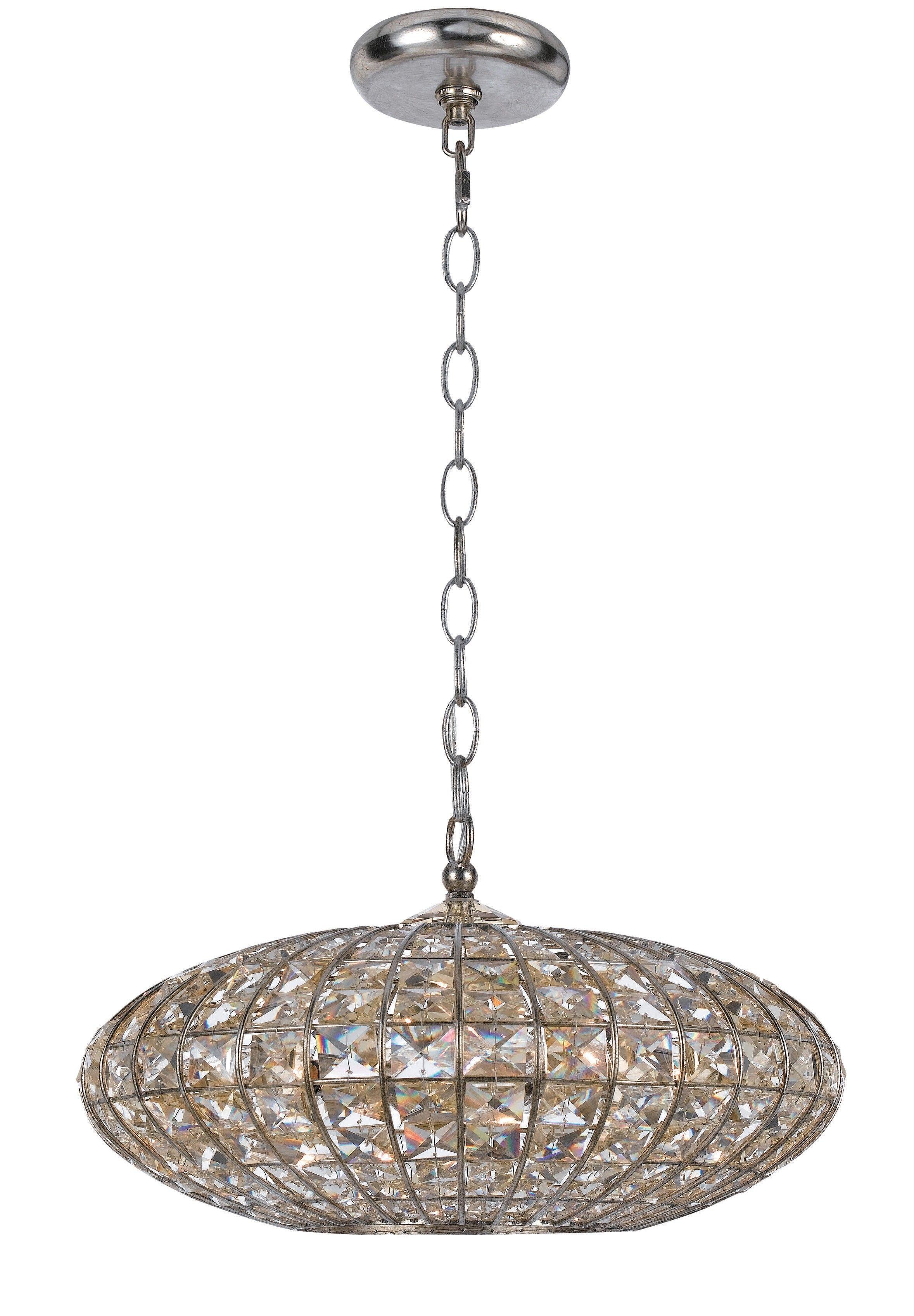 Crystorama solstice light mini chandelier in antique silver mini