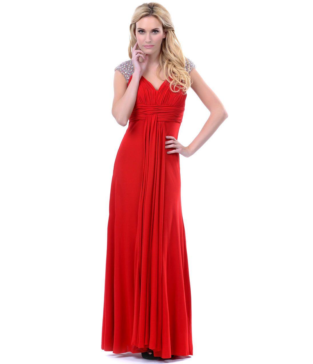 Red jersey knit rhinestone cap sleeve prom dress prom dresses