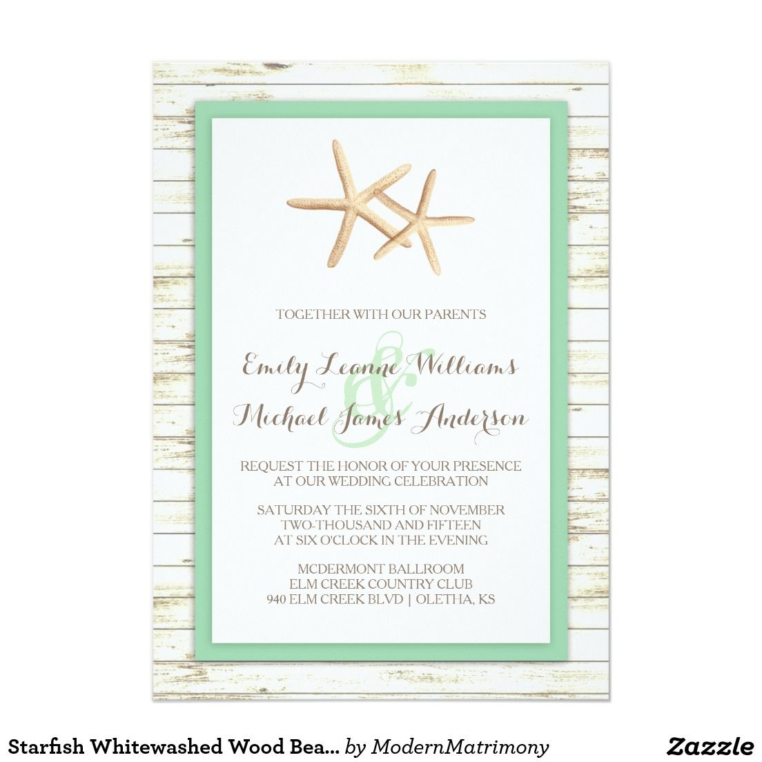 Starfish Whitewashed Wood Beach Wedding Invitation | Beach Wedding ...