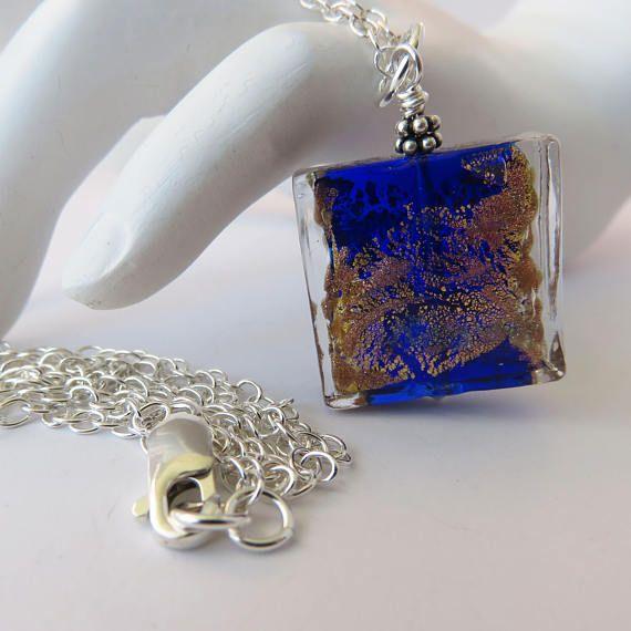 Handmade Glass Earrings Abstract Art Venetian Glass Blue Gold Colours Statement Jewellery