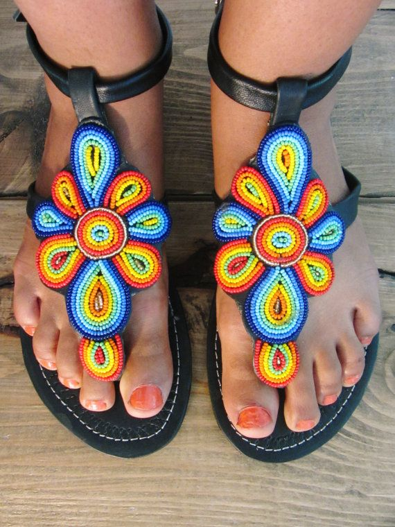 ee458c42dd7dc African Handmade Leather Maasai Sandals / Masai Design / Made In ...