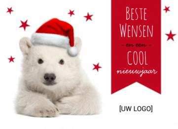 Kerstmuts Met Licht : Zakelijke kerstkaart met ijsbeer met kerstmuts en rode sterren