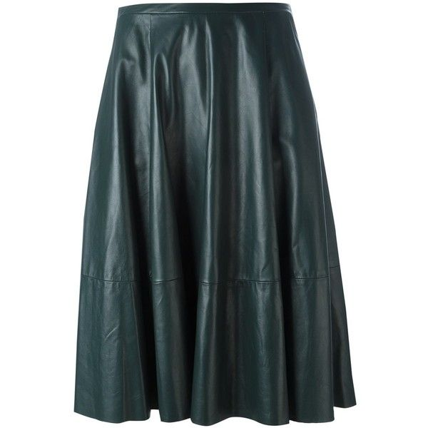 Drome mid-rise draped skirt ($694) ❤ liked on Polyvore featuring skirts, green, draped skirts, blue green skirt, knee length leather skirt, leather skirt and blue skirt