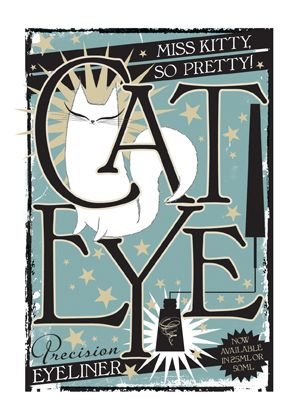 Cat Eye Precision Eye Liner - imagined retro advertisement.