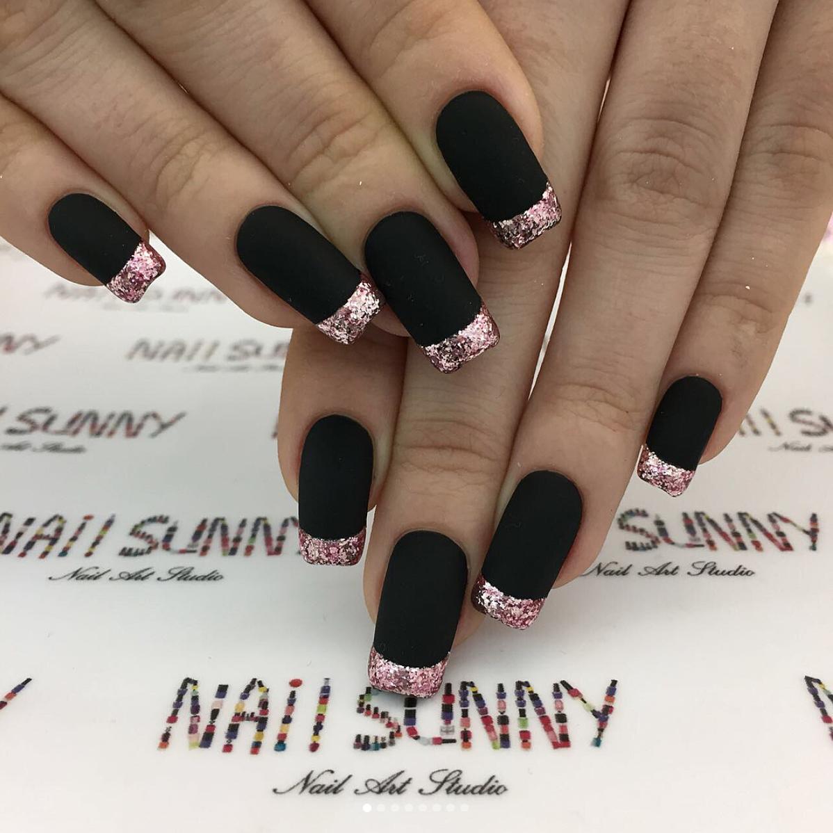 Nail Sunny French Nails Matte Black Pink Glitter Black Acrylic Nail Designs Rose Gold Nails Design Gold Nail Designs