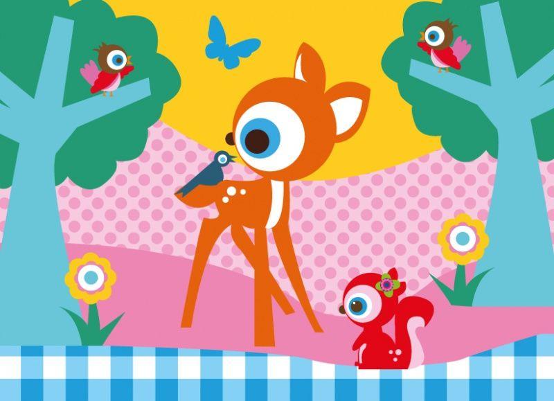 poster bosdieren a4. vrolijk de kinderkamer of babykamer op met, Deco ideeën