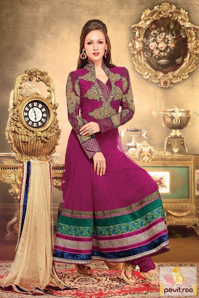 Pavitraa #Pink and Cream Floor #Length #Anarkali #Salwar Suits