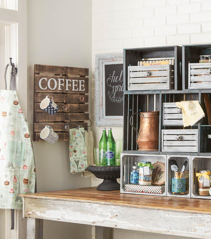 Woodline Works Wooden Crate Joann Clipboard Wall Art Crate Shelves Decor