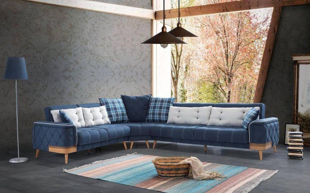 Sipstar Modern Cotton Corner Sofa Furniture Set Goruntuler Ile