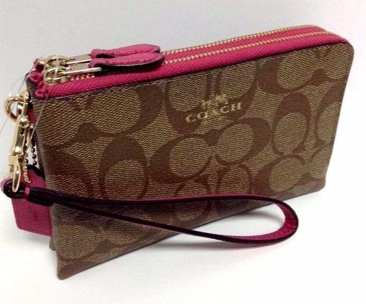562c3328 COACH Wristlet Double Corner Zip Wallet Sig PVC Khaki Dahlia Pink ...